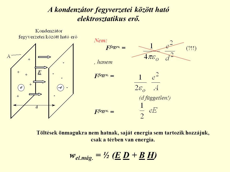 Nem: F fegyv. = (?!!), hanem F fegyv. = (d független!) F fegyv. = Töltések önmagukra nem hatnak, saját energia sem tartozik hozzájuk, csak a térben va