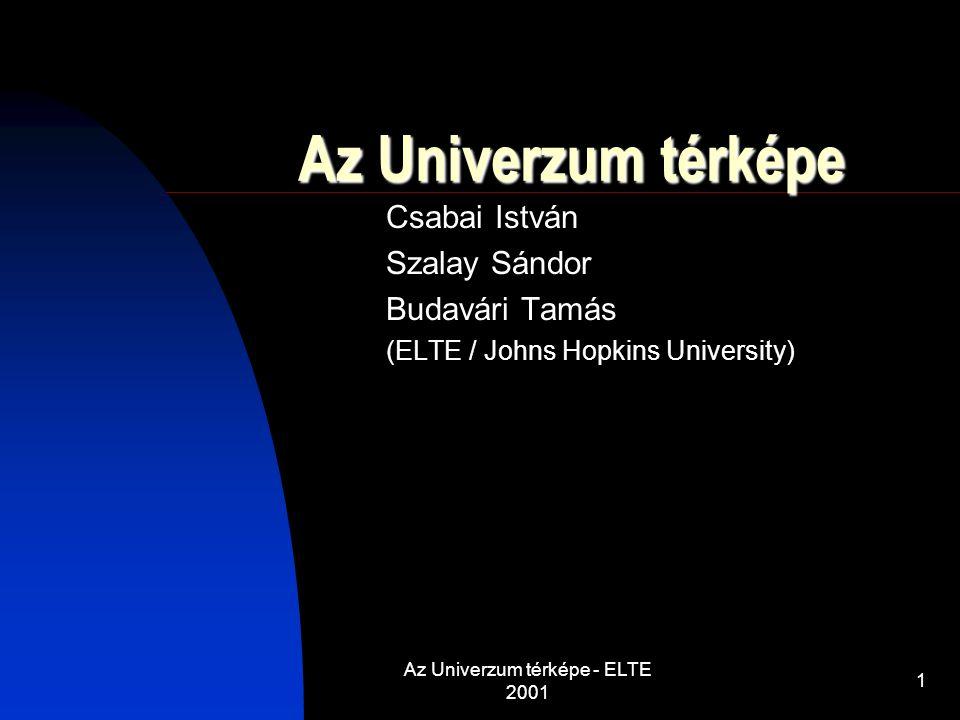 Az Univerzum térképe - ELTE 2001 1 Az Univerzum térképe Csabai István Szalay Sándor Budavári Tamás (ELTE / Johns Hopkins University)