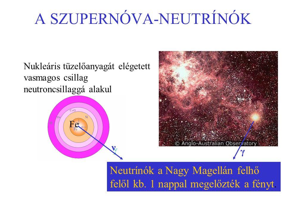 A SZUPERNÓVA-NEUTRÍNÓK Nukleáris tüzelőanyagát elégetett vasmagos csillag neutroncsillaggá alakul Neutrínók a Nagy Magellán felhő felől kb. 1 nappal m