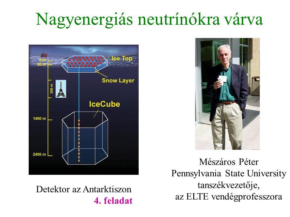 Nagyenergiás neutrínókra várva Detektor az Antarktiszon 4. feladat Mészáros Péter Pennsylvania State University tanszékvezetője, az ELTE vendégprofess