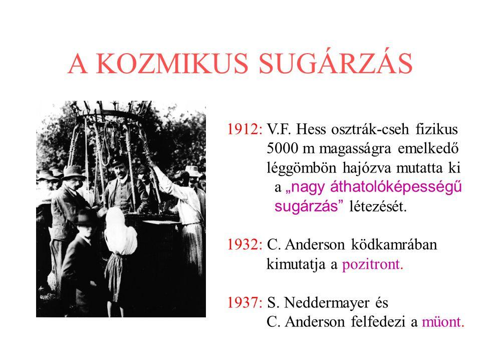 """A KOZMIKUS SUGÁRZÁS 1912: V.F. Hess osztrák-cseh fizikus 5000 m magasságra emelkedő léggömbön hajózva mutatta ki a """"nagy áthatolóképességű sugárzás"""" l"""