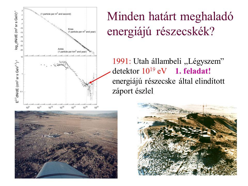 """Minden határt meghaladó energiájú részecskék? 1991: Utah állambeli """"Légyszem"""" detektor 10 19 eV 1. feladat! energiájú részecske által elindított zápor"""