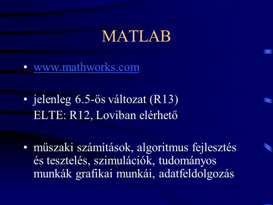 MATLAB www.mathworks.com jelenleg 6.5-ös változat (R13) ELTE: R12, Loviban elérhető műszaki számítások, algoritmus fejlesztés és tesztelés, szimuláció
