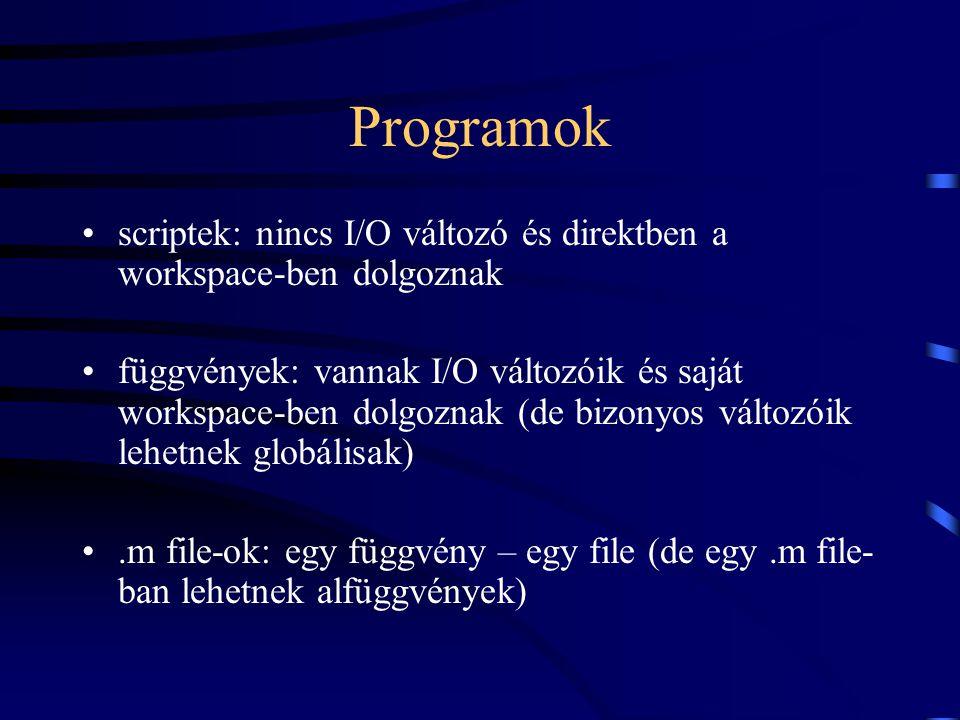 Programok scriptek: nincs I/O változó és direktben a workspace-ben dolgoznak függvények: vannak I/O változóik és saját workspace-ben dolgoznak (de biz