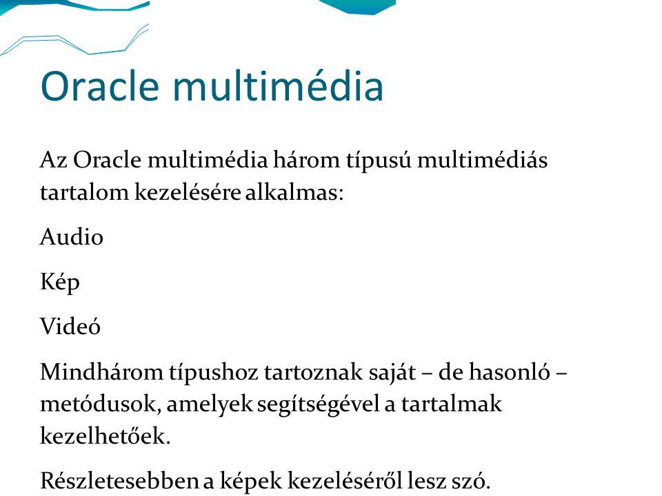 Oracle multimédia Az Oracle multimédia három típusú multimédiás tartalom kezelésére alkalmas: Audio Kép Videó Mindhárom típushoz tartoznak saját – de hasonló – metódusok, amelyek segítségével a tartalmak kezelhetőek.
