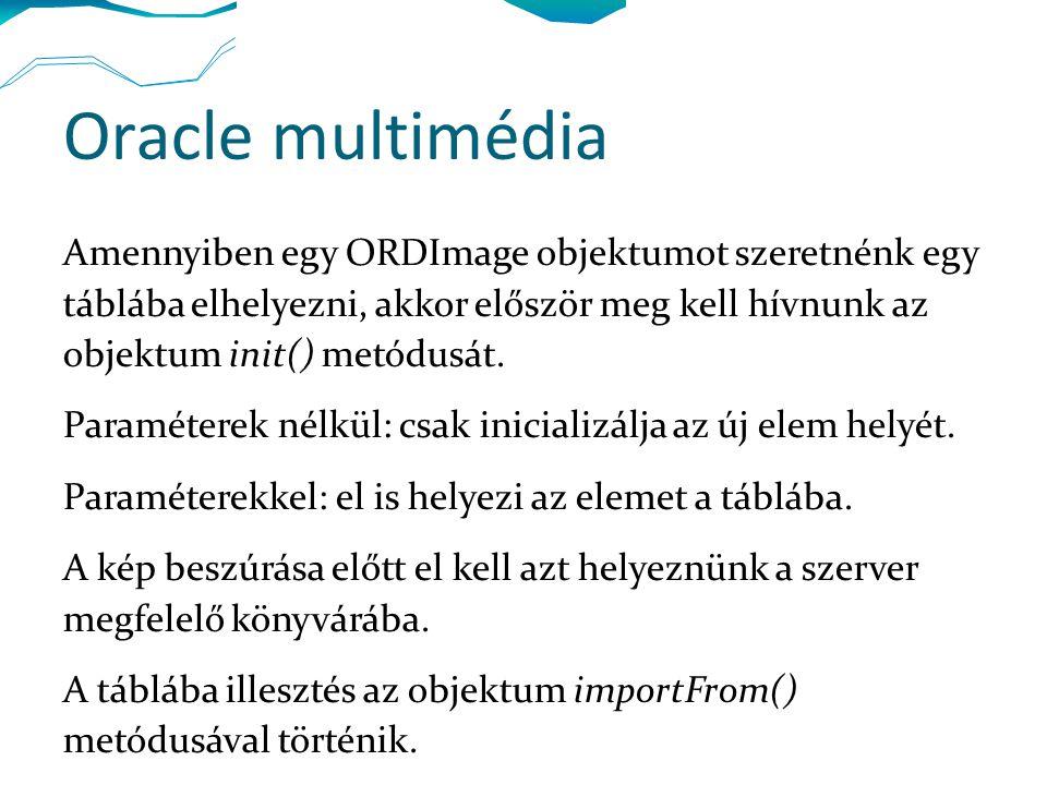 Amennyiben egy ORDImage objektumot szeretnénk egy táblába elhelyezni, akkor először meg kell hívnunk az objektum init() metódusát.