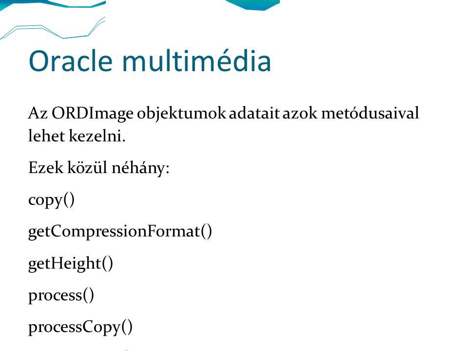 Oracle multimédia Az ORDImage objektumok adatait azok metódusaival lehet kezelni. Ezek közül néhány: copy() getCompressionFormat() getHeight() process