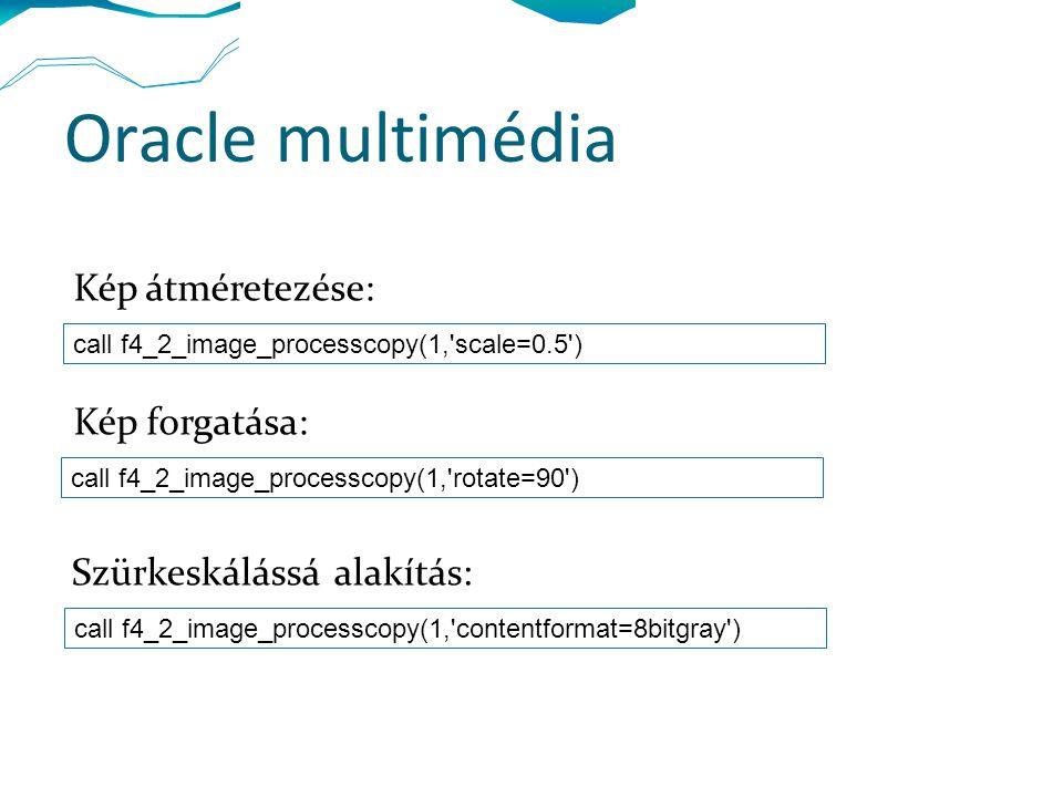 Oracle multimédia call f4_2_image_processcopy(1, scale=0.5 ) call f4_2_image_processcopy(1, rotate=90 ) call f4_2_image_processcopy(1, contentformat=8bitgray ) Kép átméretezése: Kép forgatása: Szürkeskálássá alakítás: