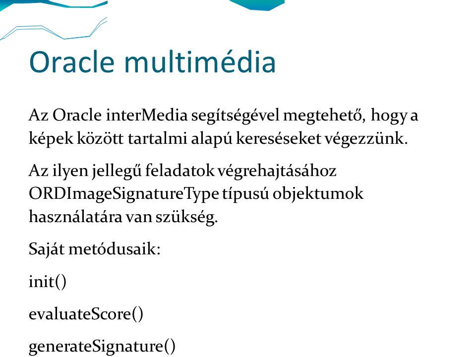 Oracle multimédia Az Oracle interMedia segítségével megtehető, hogy a képek között tartalmi alapú kereséseket végezzünk.