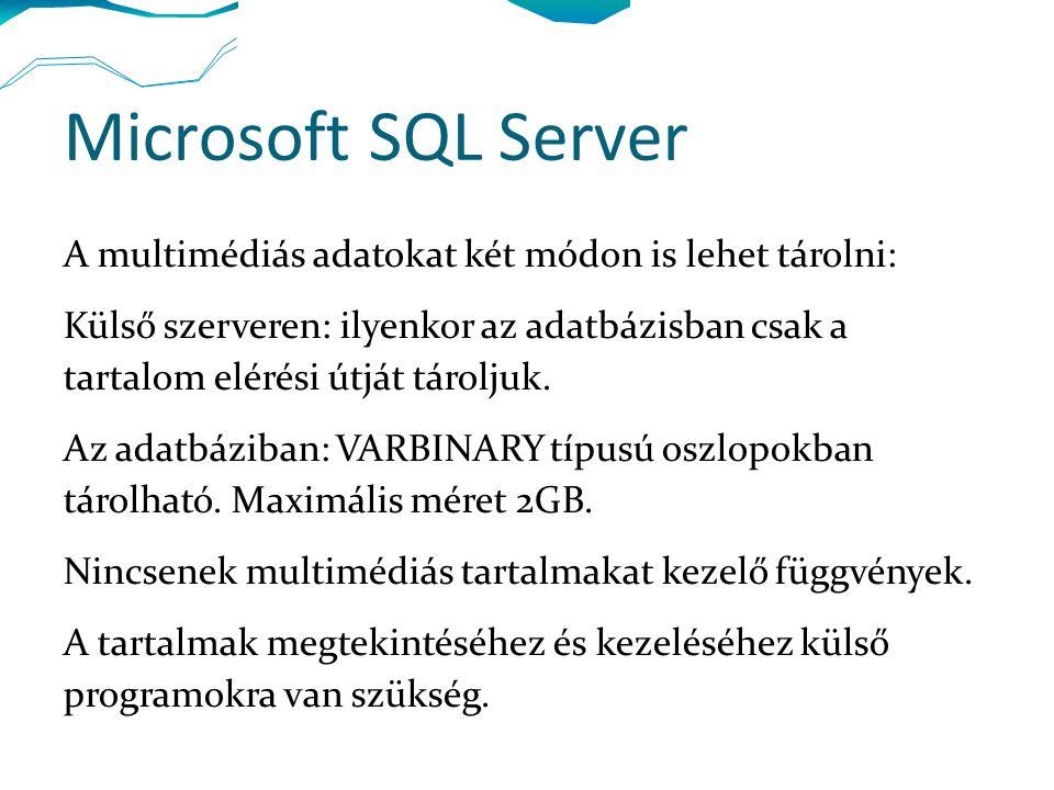 Microsoft SQL Server A multimédiás adatokat két módon is lehet tárolni: Külső szerveren: ilyenkor az adatbázisban csak a tartalom elérési útját tároljuk.