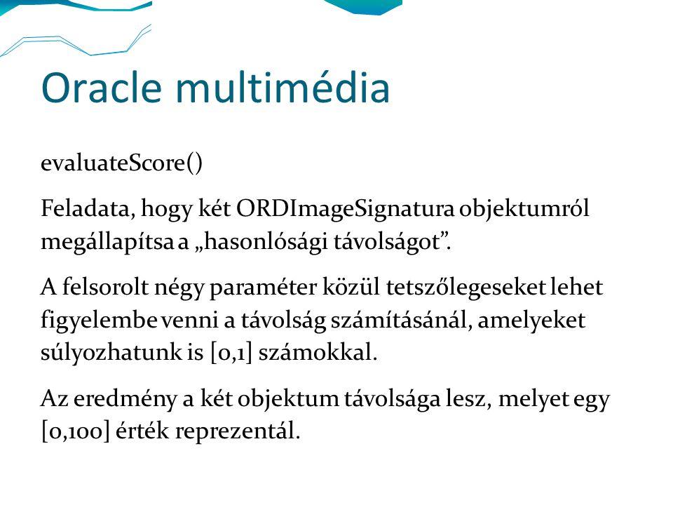 """Oracle multimédia evaluateScore() Feladata, hogy két ORDImageSignatura objektumról megállapítsa a """"hasonlósági távolságot ."""