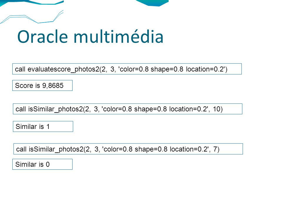 Oracle multimédia call evaluatescore_photos2(2, 3, color=0.8 shape=0.8 location=0.2 ) Score is 9,8685 call isSimilar_photos2(2, 3, color=0.8 shape=0.8 location=0.2 , 10) Similar is 1 call isSimilar_photos2(2, 3, color=0.8 shape=0.8 location=0.2 , 7) Similar is 0