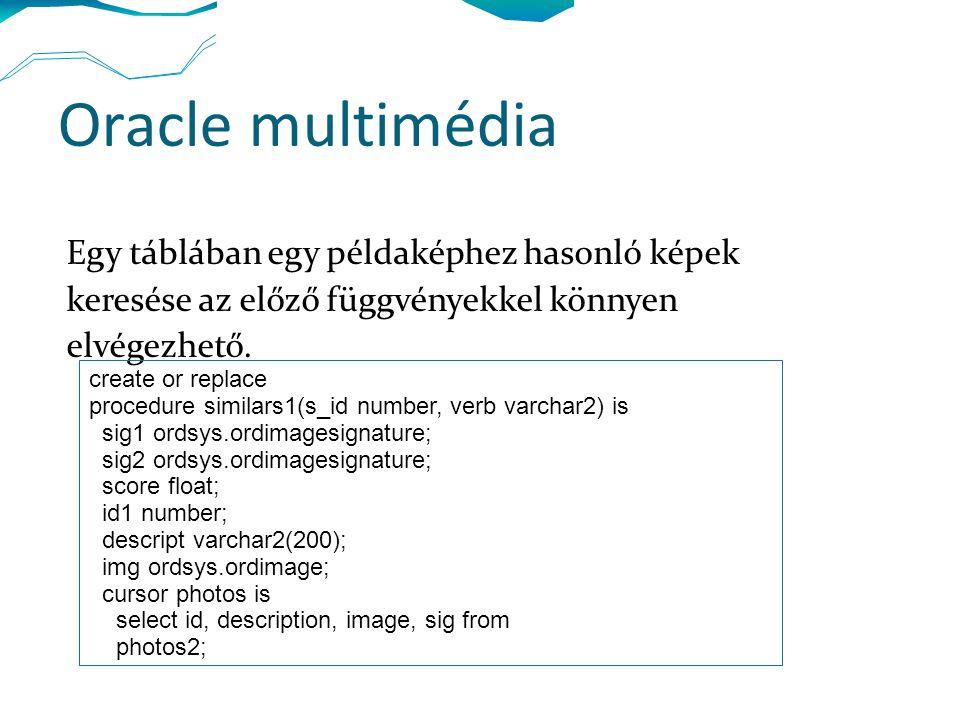 Oracle multimédia Egy táblában egy példaképhez hasonló képek keresése az előző függvényekkel könnyen elvégezhető. create or replace procedure similars