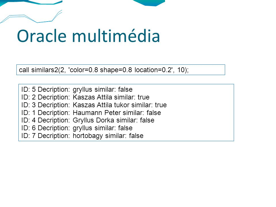 Oracle multimédia call similars2(2, color=0.8 shape=0.8 location=0.2 , 10); ID: 5 Decription: gryllus similar: false ID: 2 Decription: Kaszas Attila similar: true ID: 3 Decription: Kaszas Attila tukor similar: true ID: 1 Decription: Haumann Peter similar: false ID: 4 Decription: Gryllus Dorka similar: false ID: 6 Decription: gryllus similar: false ID: 7 Decription: hortobagy similar: false