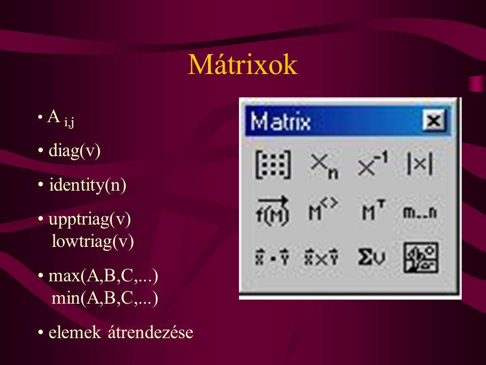 Mátrixok A i,j diag(v) identity(n) upptriag(v) lowtriag(v) max(A,B,C,...) min(A,B,C,...) elemek átrendezése