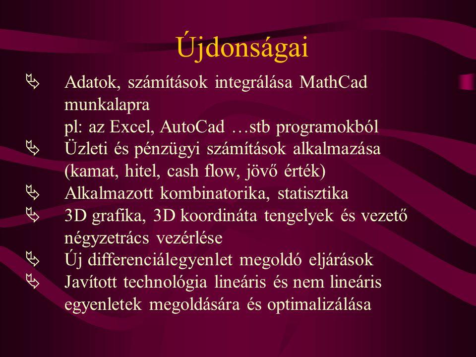 Újdonságai  Adatok, számítások integrálása MathCad munkalapra pl: az Excel, AutoCad …stb programokból  Üzleti és pénzügyi számítások alkalmazása (ka