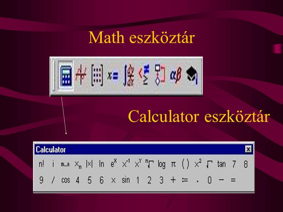 Math eszköztár Calculator eszköztár