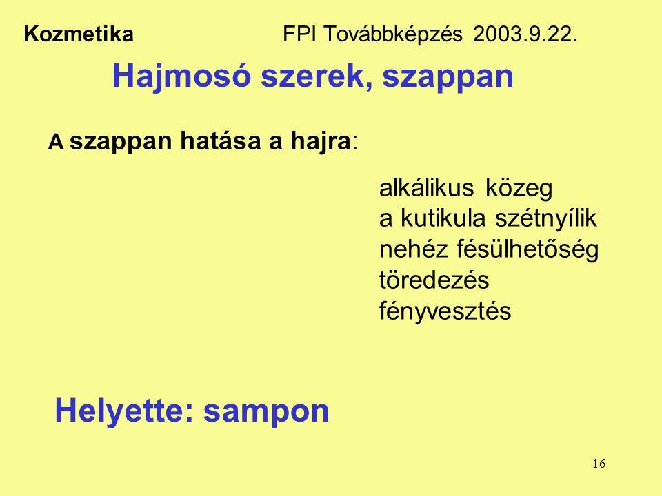 16 Kozmetika FPI Továbbképzés 2003.9.22. Hajmosó szerek, szappan A szappan hatása a hajra: alkálikus közeg a kutikula szétnyílik nehéz fésülhetőség tö