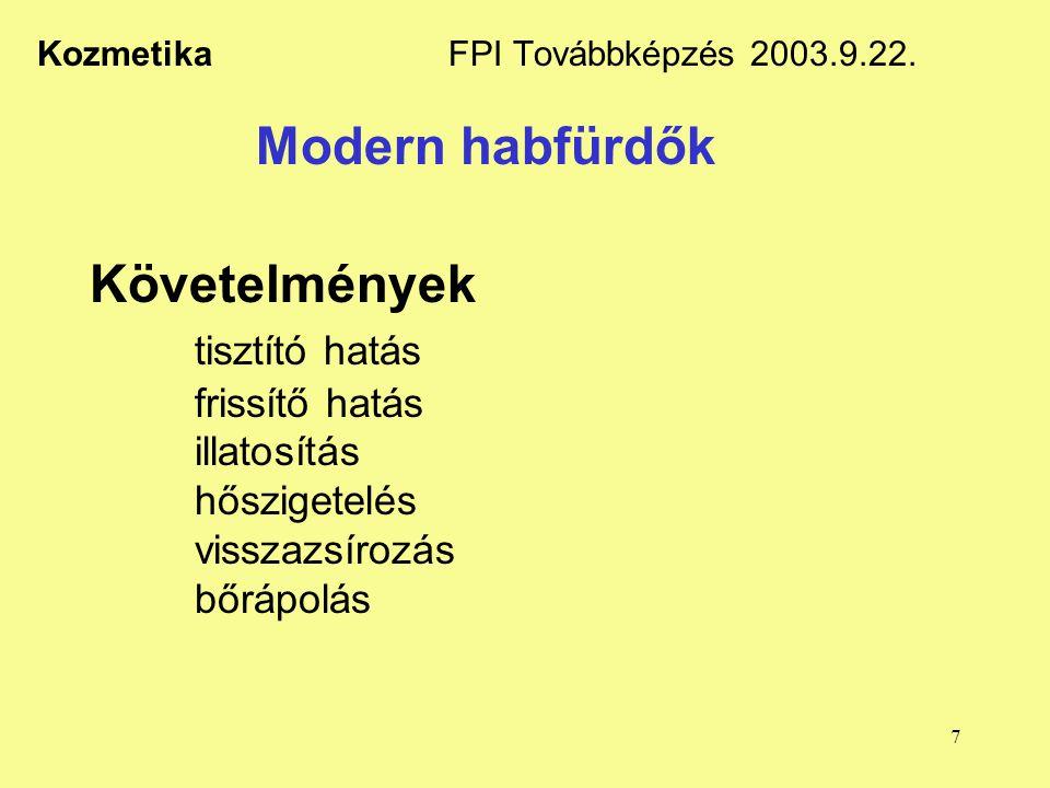 7 Kozmetika FPI Továbbképzés 2003.9.22. Modern habfürdők Követelmények tisztító hatás frissítő hatás illatosítás hőszigetelés visszazsírozás bőrápolás