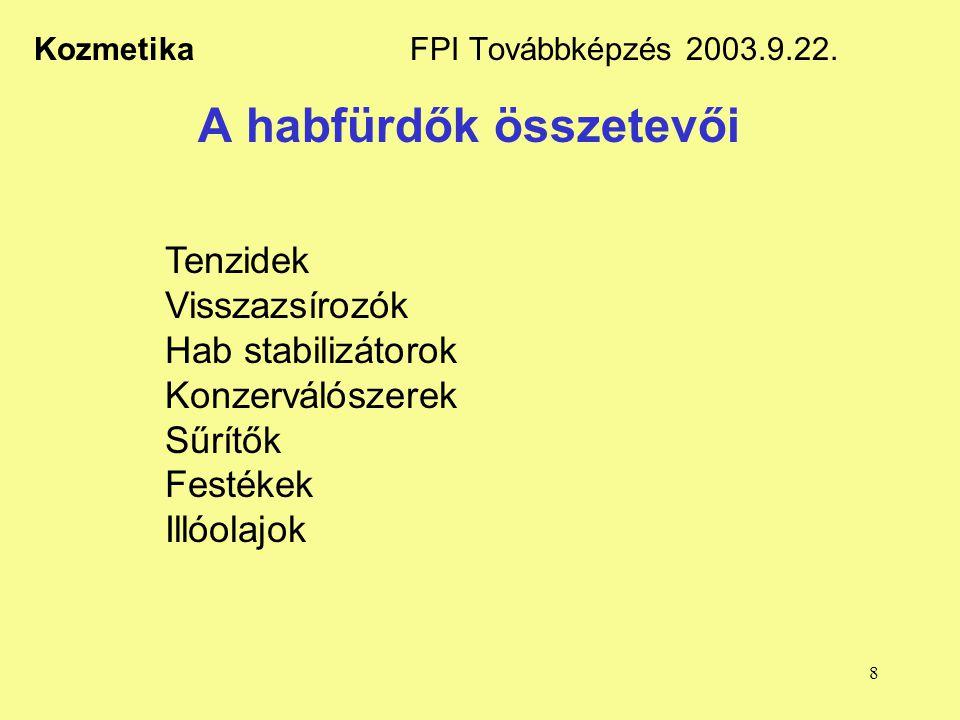 8 Kozmetika FPI Továbbképzés 2003.9.22. A habfürdők összetevői Tenzidek Visszazsírozók Hab stabilizátorok Konzerválószerek Sűrítők Festékek Illóolajok