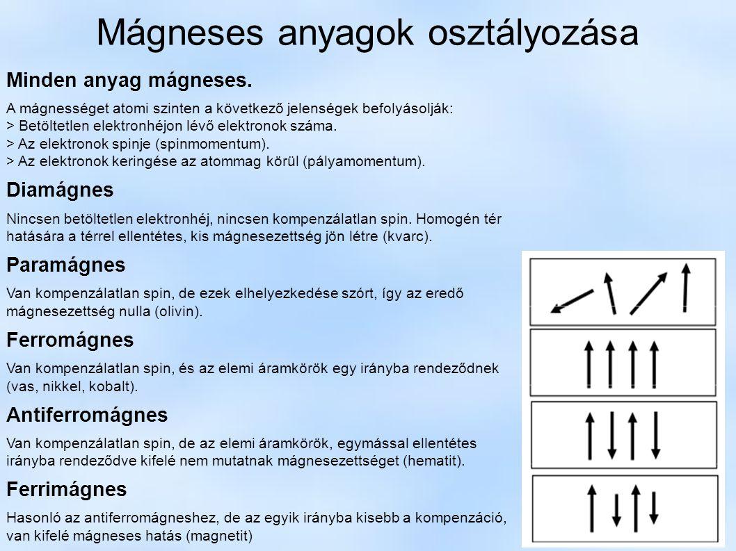Mágneses anyagok osztályozása Minden anyag mágneses. A mágnességet atomi szinten a következő jelenségek befolyásolják: > Betöltetlen elektronhéjon lév