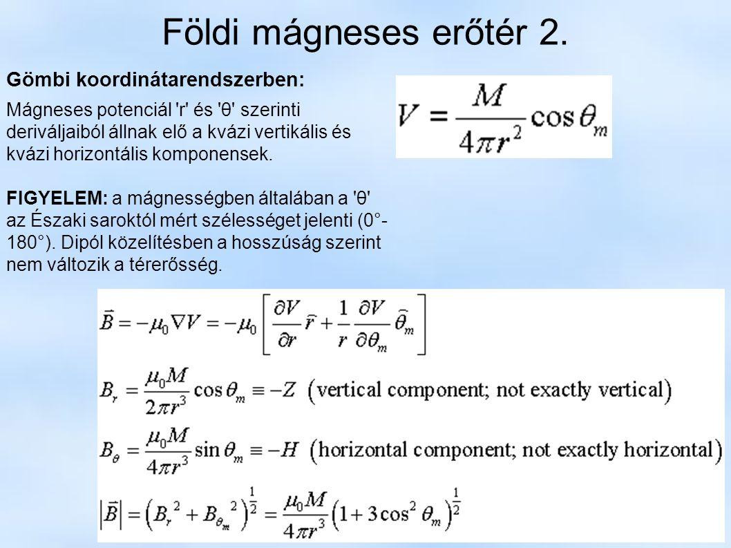 Földi mágneses erőtér 2. Gömbi koordinátarendszerben: Mágneses potenciál 'r' és 'θ' szerinti deriváljaiból állnak elő a kvázi vertikális és kvázi hori