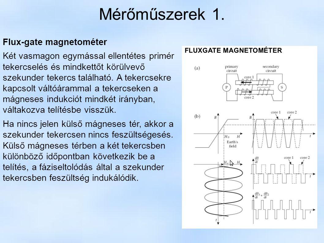 Mérőműszerek 1. Flux-gate magnetométer Két vasmagon egymással ellentétes primér tekercselés és mindkettőt körülvevő szekunder tekercs található. A tek