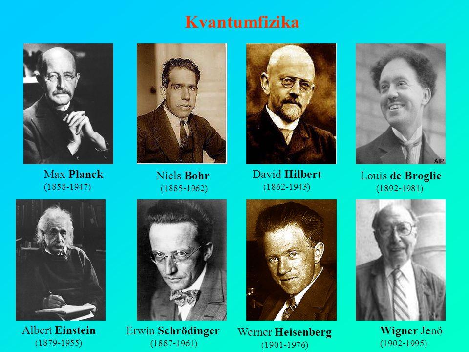 Kvantumfizika David Hilbert (1862-1943) Louis de Broglie (1892-1981) Erwin Schrödinger (1887-1961) Werner Heisenberg (1901-1976) Max Planck (1858-1947) Albert Einstein (1879-1955) Wigner Jenő (1902-1995) Niels Bohr (1885-1962)