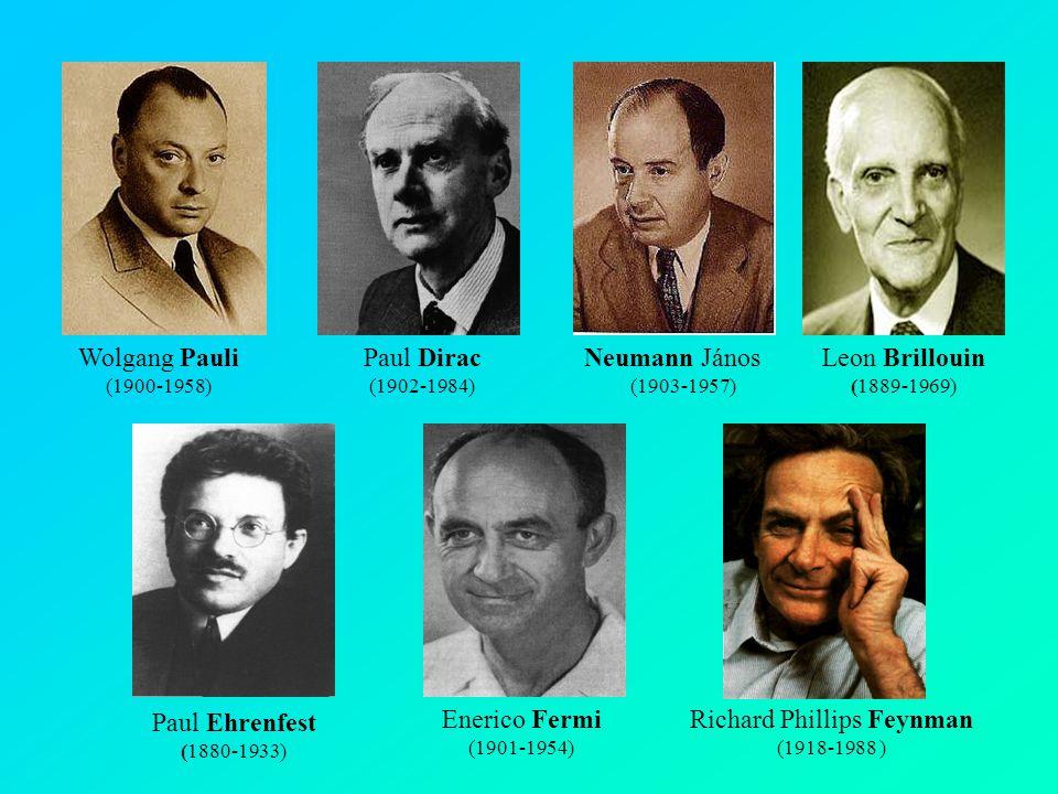 Neumann János (1903-1957) Wolgang Pauli (1900-1958) Paul Dirac (1902-1984) Enerico Fermi (1901-1954) Paul Ehrenfest (1880-1933) Leon Brillouin (1889-1969) Richard Phillips Feynman (1918-1988 )
