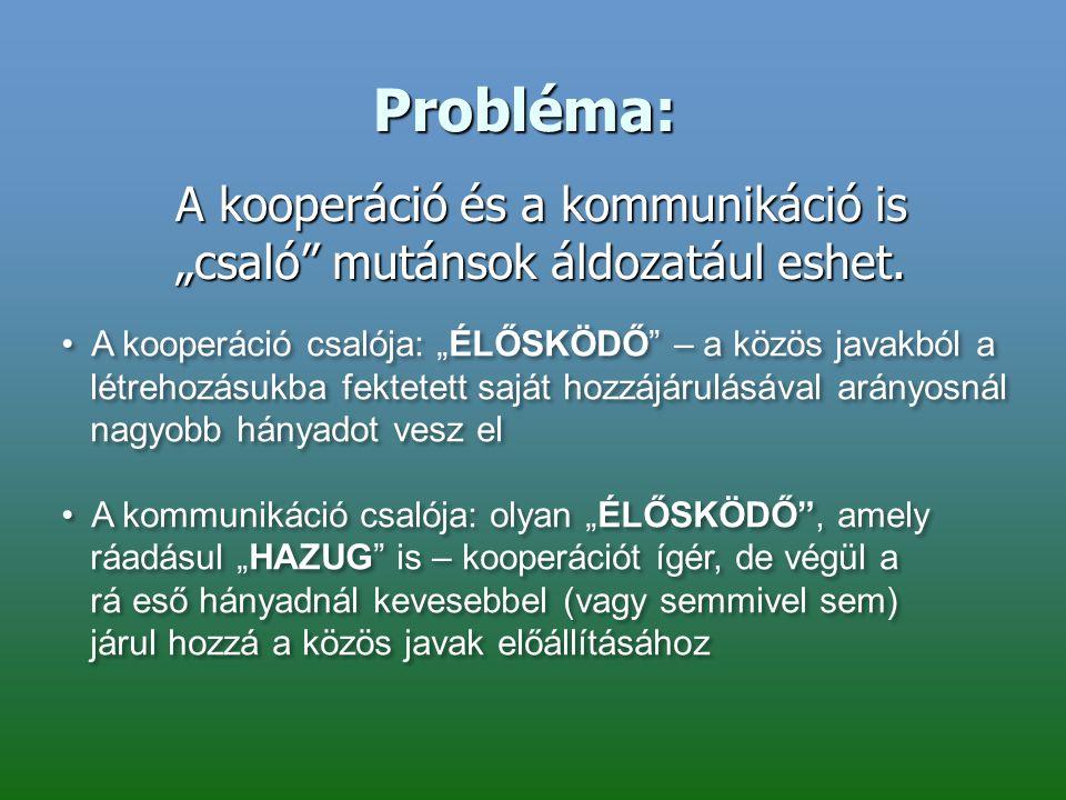 """Probléma: A kooperáció és a kommunikáció is """"csaló"""" mutánsok áldozatául eshet. A kooperáció csalója: """"ÉLŐSKÖDŐ"""" – a közös javakból a létrehozásukba fe"""