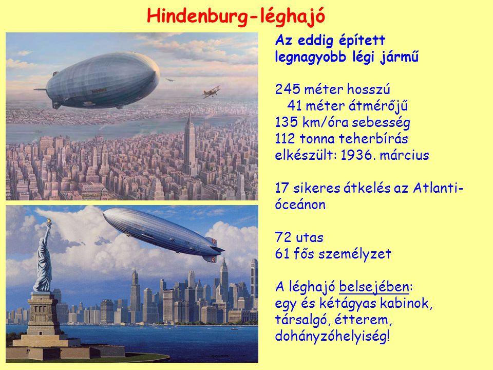Hindenburg-léghajó Az eddig épített legnagyobb légi jármű 245 méter hosszú 41 méter átmérőjű 135 km/óra sebesség 112 tonna teherbírás elkészült: 1936.