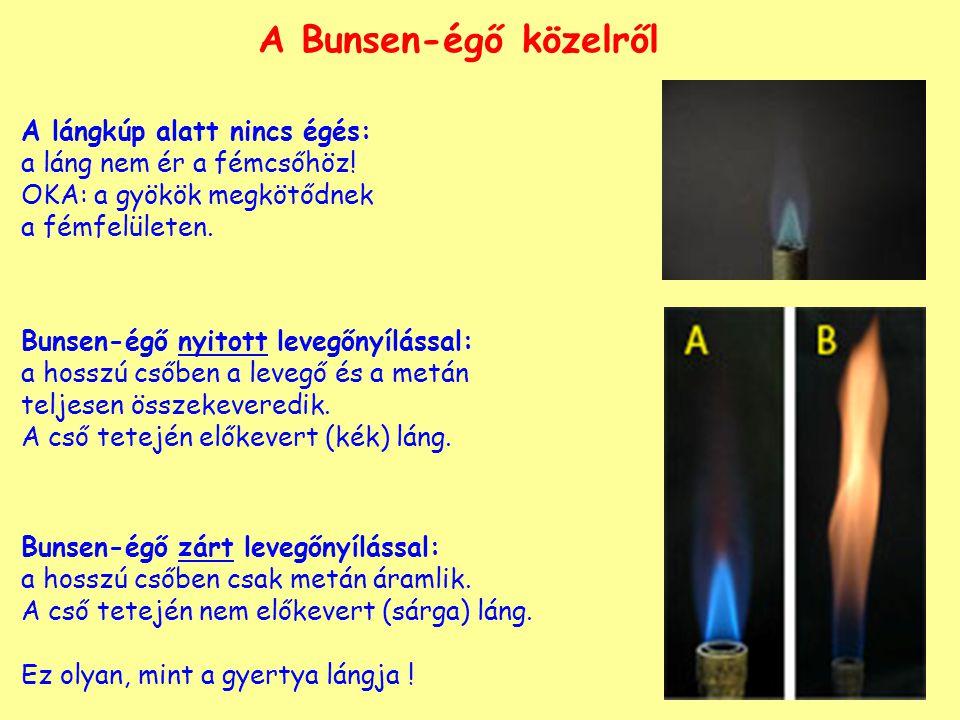 A Bunsen-égő közelről A lángkúp alatt nincs égés: a láng nem ér a fémcsőhöz.