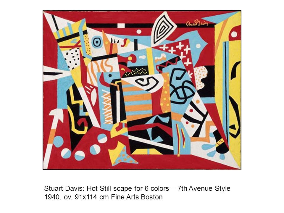 Stuart Davis: Hot Still-scape for 6 colors – 7th Avenue Style 1940. ov. 91x114 cm Fine Arts Boston