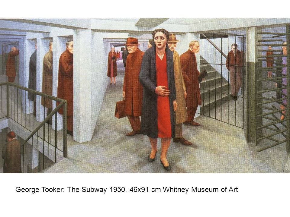 George Tooker: The Subway 1950. 46x91 cm Whitney Museum of Art