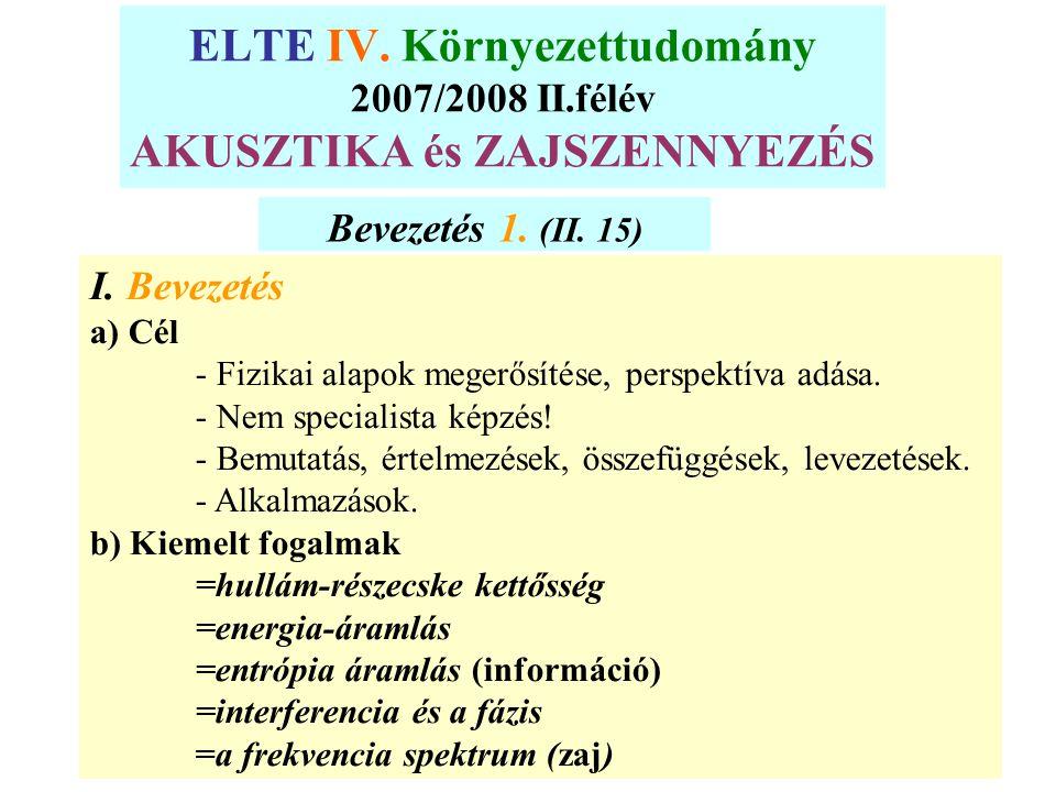 ELTE IV. Környezettudomány 2007/2008 II.félév AKUSZTIKA és ZAJSZENNYEZÉS Bevezetés 1. (II. 15) I. Bevezetés a) Cél - Fizikai alapok megerősítése, pers