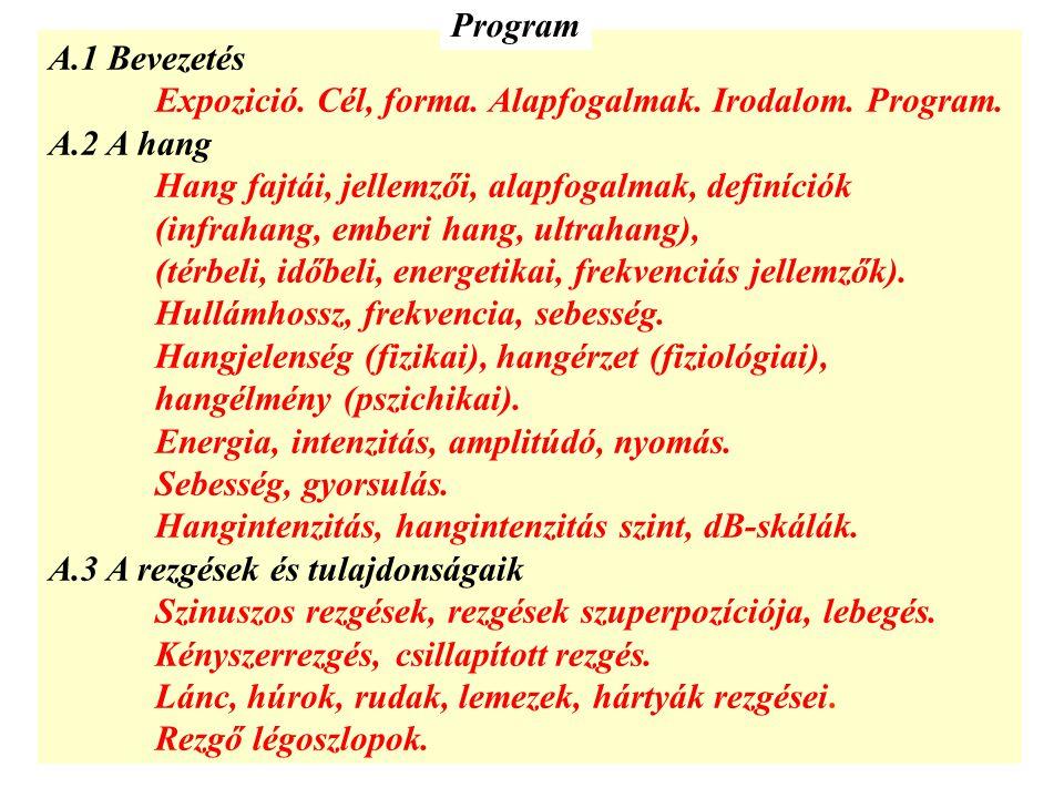 A.1 Bevezetés Expozició. Cél, forma. Alapfogalmak. Irodalom. Program. A.2 A hang Hang fajtái, jellemzői, alapfogalmak, definíciók (infrahang, emberi h