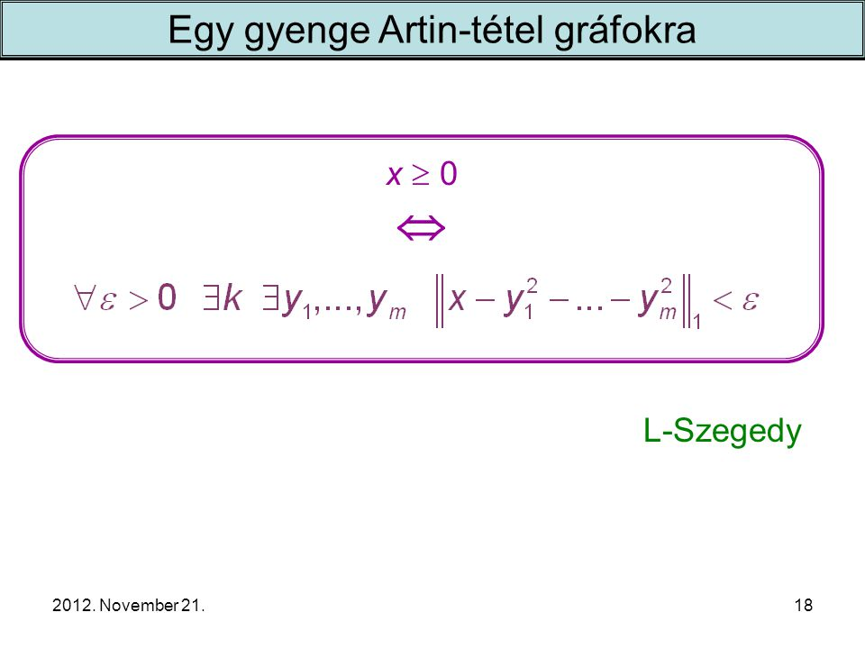 2012. November 21. x  0  Egy gyenge Artin-tétel gráfokra 18 L-Szegedy