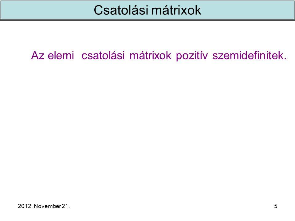 2012. November 21.5 Csatolási mátrixok Az elemi csatolási mátrixok pozitív szemidefinitek.