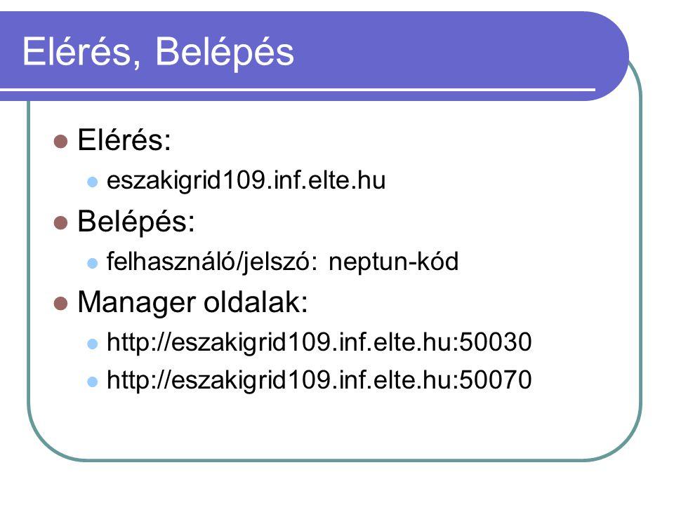 Elérés, Belépés Elérés: eszakigrid109.inf.elte.hu Belépés: felhasználó/jelszó: neptun-kód Manager oldalak: http://eszakigrid109.inf.elte.hu:50030 http
