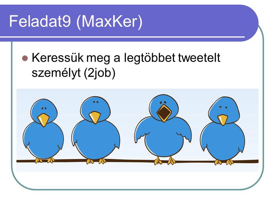 Feladat9 (MaxKer) Keressük meg a legtöbbet tweetelt személyt (2job)