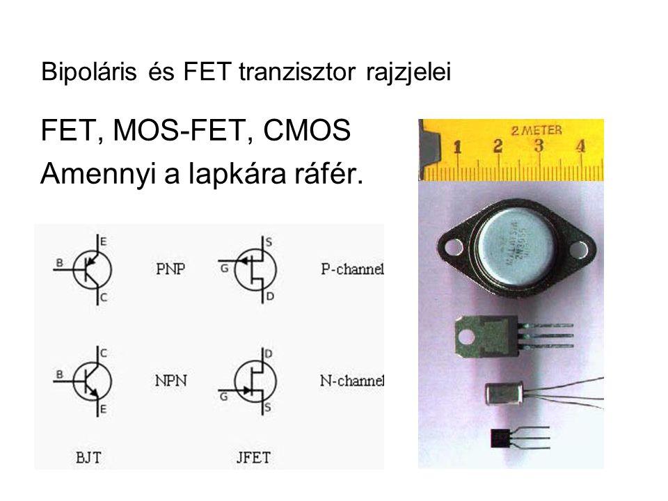 Bipoláris és FET tranzisztor rajzjelei FET, MOS-FET, CMOS Amennyi a lapkára ráfér.