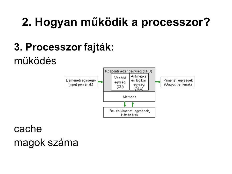2. Hogyan működik a processzor? 3. Processzor fajták: működés cache magok száma