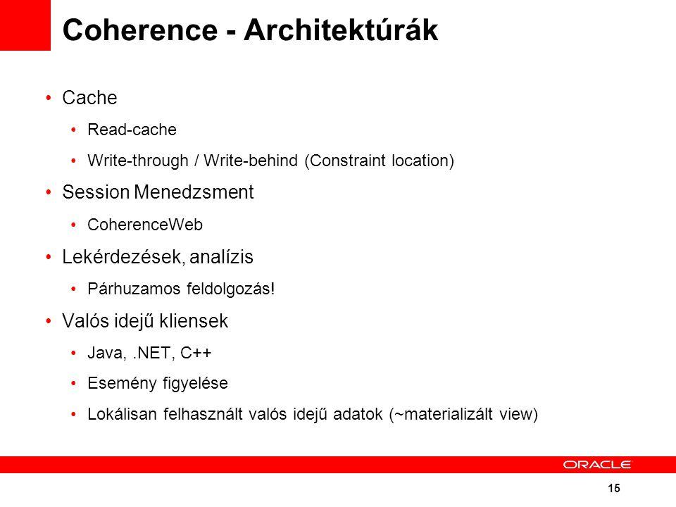 15 Coherence - Architektúrák Cache Read-cache Write-through / Write-behind (Constraint location) Session Menedzsment CoherenceWeb Lekérdezések, analízis Párhuzamos feldolgozás.