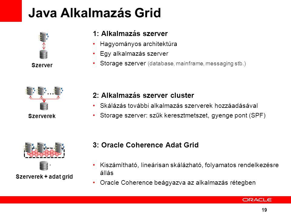 19 Java Alkalmazás Grid 1: Alkalmazás szerver Hagyományos architektúra Egy alkalmazás szerver Storage szerver (database, mainframe, messaging stb.) 2: