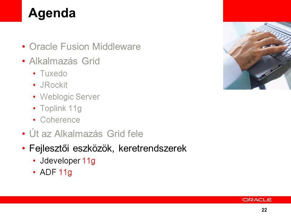 22 Agenda Oracle Fusion Middleware Alkalmazás Grid Tuxedo JRockit Weblogic Server Toplink 11g Coherence Út az Alkalmazás Grid fele Fejlesztői eszközök