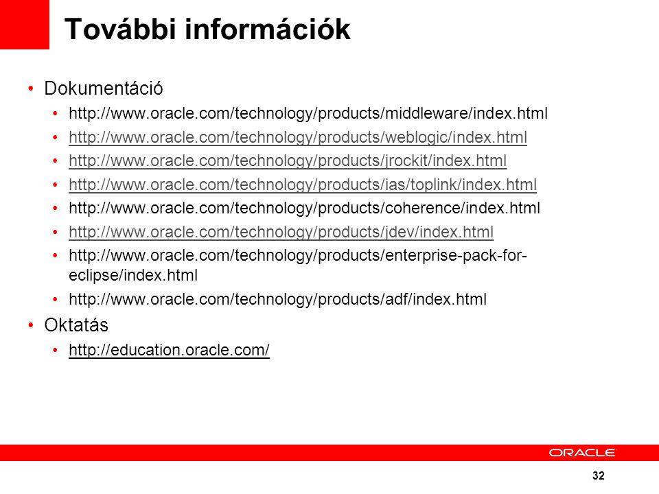 32 További információk Dokumentáció http://www.oracle.com/technology/products/middleware/index.html http://www.oracle.com/technology/products/weblogic