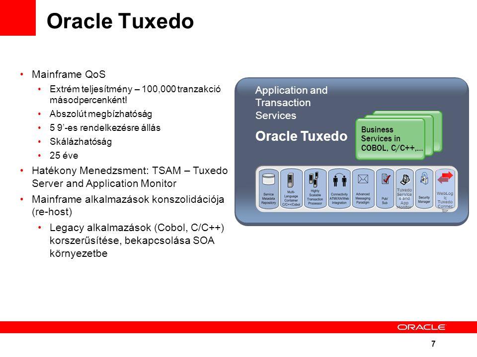 7 Oracle Tuxedo Mainframe QoS Extrém teljesítmény – 100,000 tranzakció másodpercenként! Abszolút megbízhatóság 5 9'-es rendelkezésre állás Skálázhatós