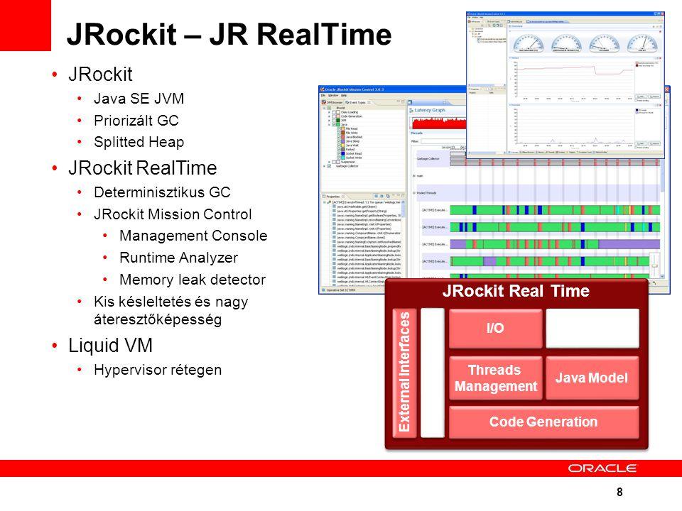 8 JRockit – JR RealTime JRockit Java SE JVM Priorizált GC Splitted Heap JRockit RealTime Determinisztikus GC JRockit Mission Control Management Console Runtime Analyzer Memory leak detector Kis késleltetés és nagy áteresztőképesség Liquid VM Hypervisor rétegen JRockit Real Time Code Generation I/O RT Memory Management Java Model Threads Management External Interfaces RT Mon / Mgt