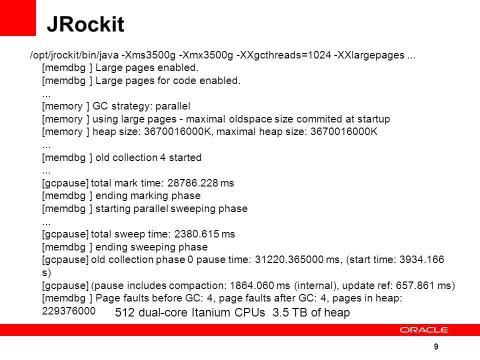 9 /opt/jrockit/bin/java -Xms3500g -Xmx3500g -XXgcthreads=1024 -XXlargepages...