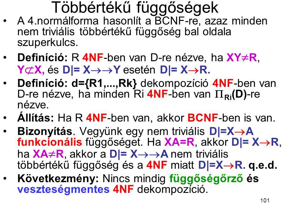 101 Többértékű függőségek A 4.normálforma hasonlít a BCNF-re, azaz minden nem triviális többértékű függőség bal oldala szuperkulcs. Definíció: R 4NF-b